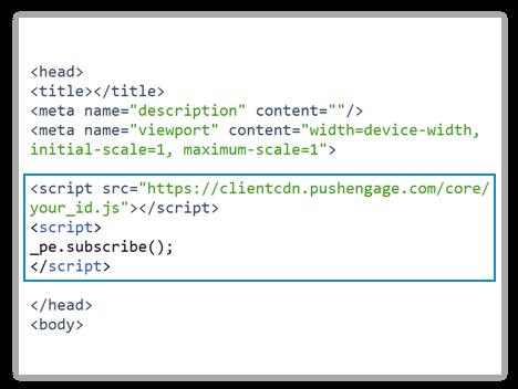 pushengage install code