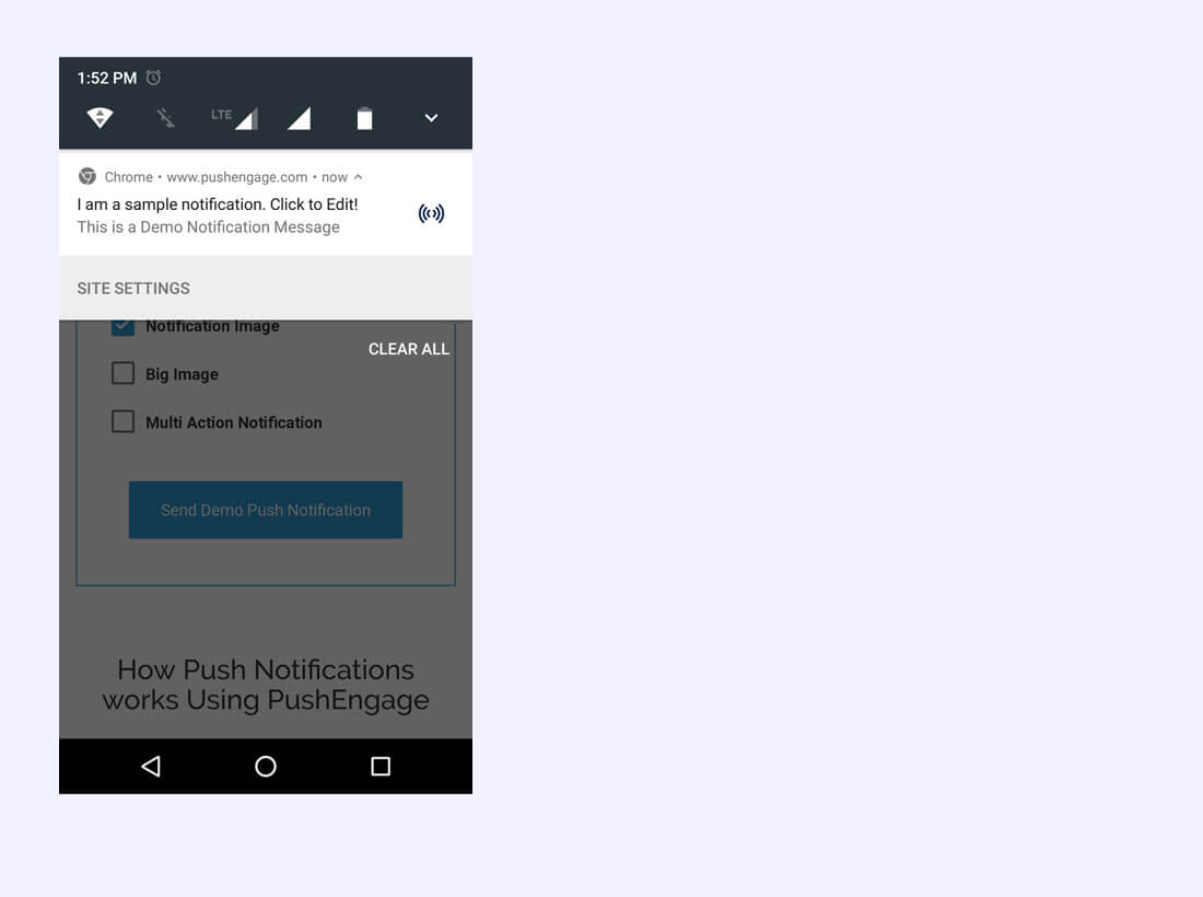 Notification being displayed in Chrome for Android . Screenshot/Illustration