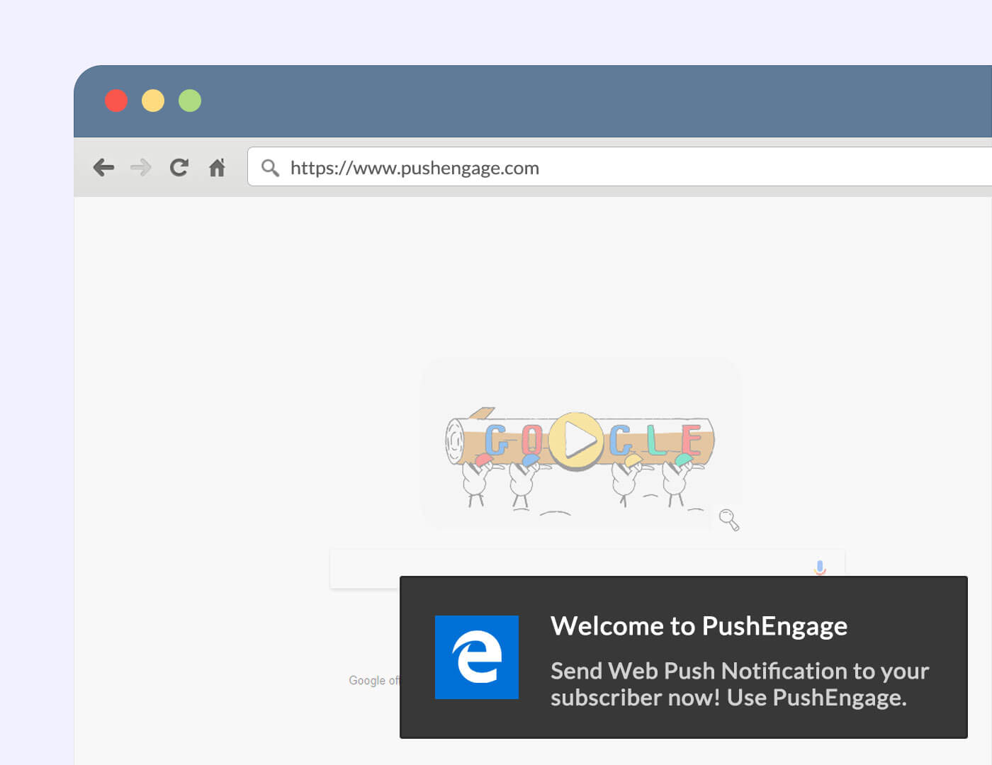 Notification being displayed in Edge. Screenshot/Illustration